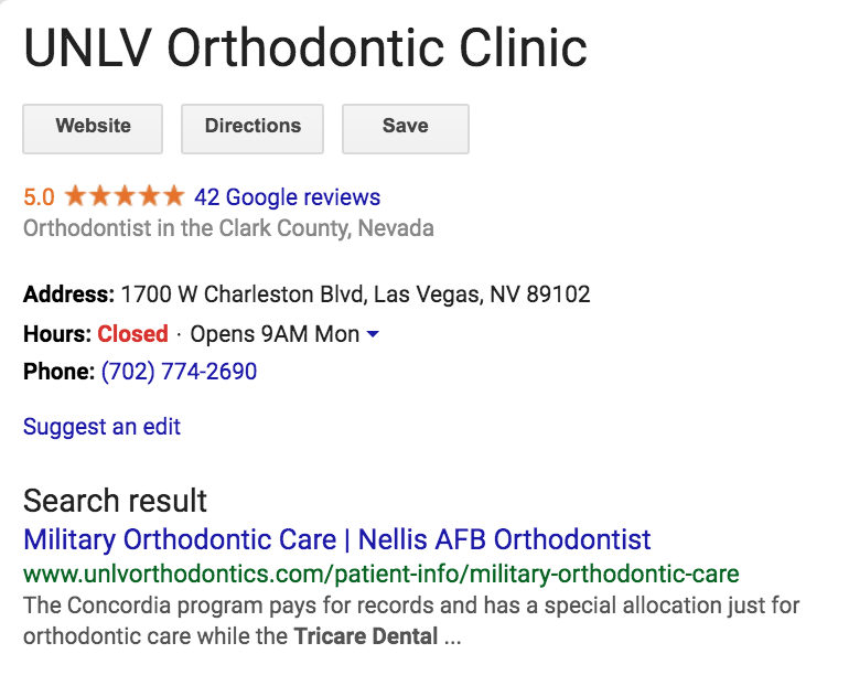 screenshot of unlv orthodondic clinic