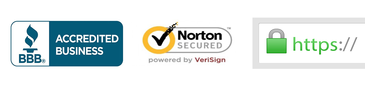 BBB, norton secured, and an image of HTTPS