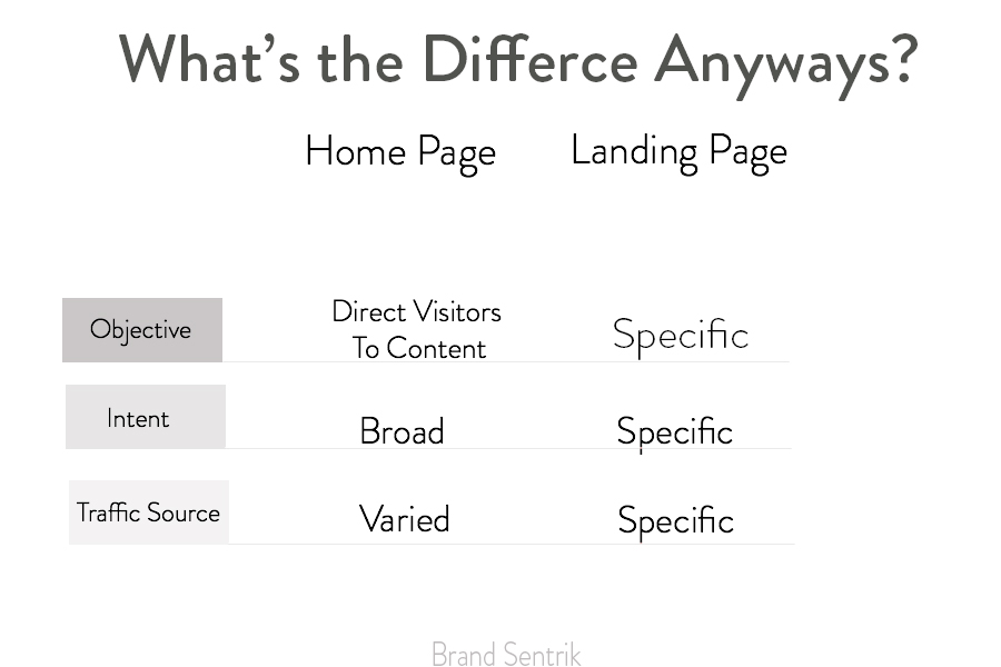A chart describing the difference between home page and landing page
