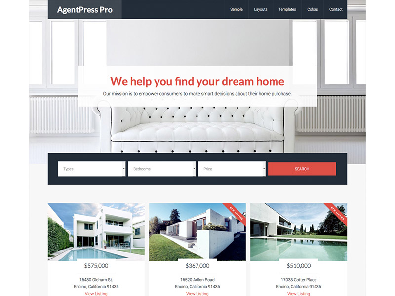 Image of the the home page of a realtors website